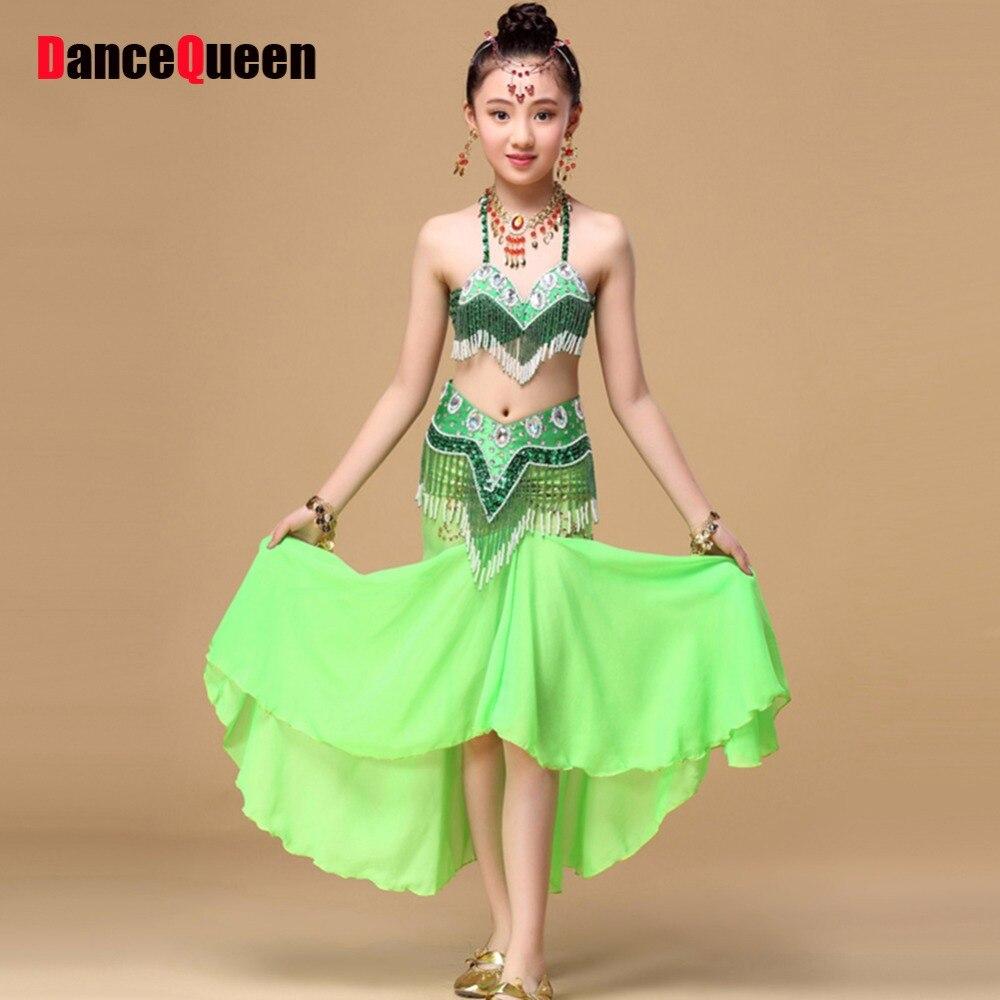 2018 danse du ventre enfants robe indienne pour fille 2 pièces 3 pièces filles vêtements indiens danse du ventre enfants Tribal Danc portant