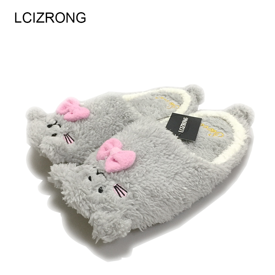 2017 Women Anime Cartoon Bear Slippers Lovers Warm Bedroom Woman Slippers Plush Shoes Home House Winter Children Shoes cute bear plush slippers with leaf pantoufle femme women shoes woman house animal warm big animal woman funny slippers