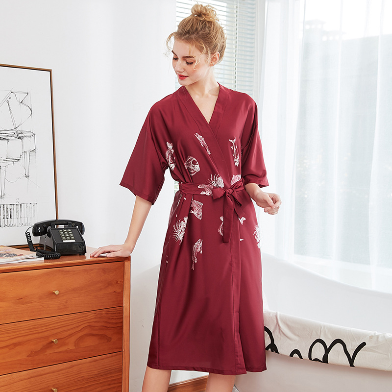 Women Rayo Satin Long Bridesmaid Robe Kimono Robe Feminino Bath Robe Large Size XL Peignoir Femme Sexy Bathrobe E0013