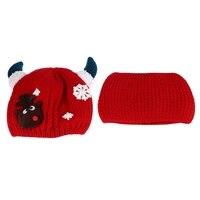 5 צבעי הגעה חדשה יפה הורן חם דפוס צבי שלג תינוקות כובע צמר חם כובע עם צעיף מתנה לחג המולד