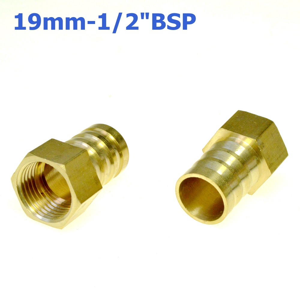 3Pcs 19mm Hose Barb Tail To 1/2PT BSP Female Thread Straight Barbed Brass Connector Joint Copper Pipe Fitting Coupler Adapter 2 pieces 10mm hose barb x 1 8 inch male bsp thread dia 9 5mm brass barbed fitting coupler connector adapter 232psi