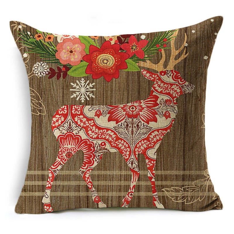 Monily Cartoon Pillow Cover Kids Christmas Deer With Flower Car Cushion Cover Decorative Throw Pillow Case Sofa Home Decor