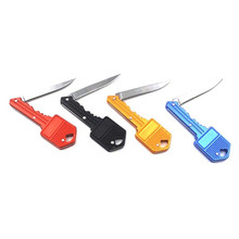 check price Outdoor Useful Key Knife Keychain Key Shaped Folding Pocket Knife Self Defense for Camping Hiking Picnic Mount Climbing Sale Best Quality