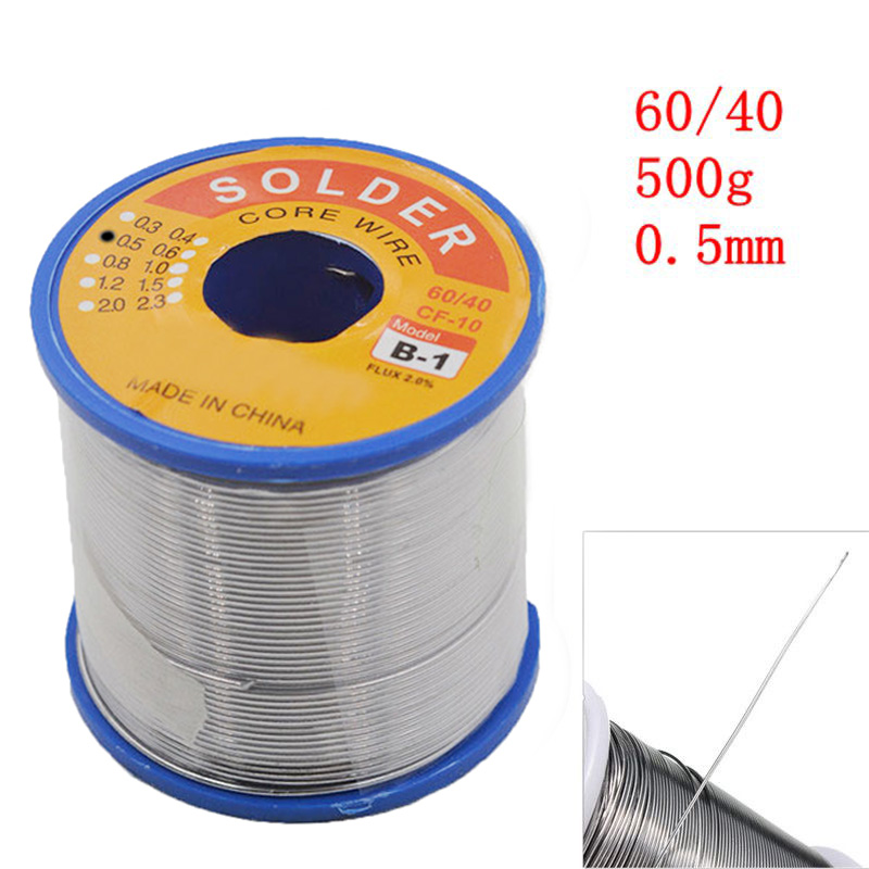 JimBon 0.5mm 60/40 500g Soldering Wires Welding Iron Rosin Core Lead Line Tin Flux 2.0% for Solder Tools 1mm 500g rosin core solder 60 40 tin lead 2 0