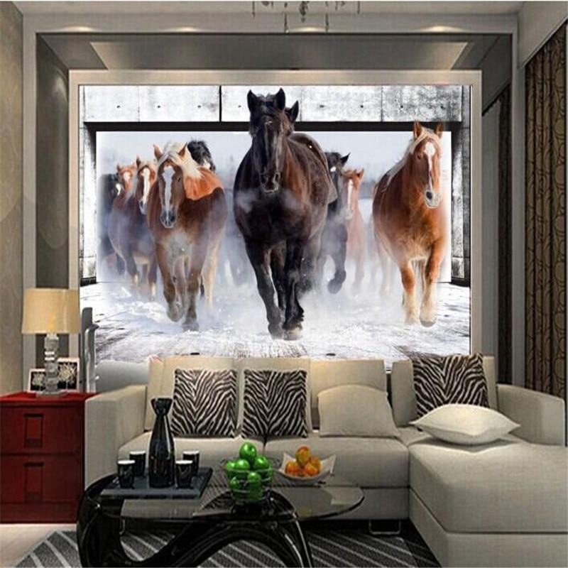 Modern photo wallpaper 3d stereo horses galloping bedroom living room sofa TV background wall mural wallpaper flash silver cloth
