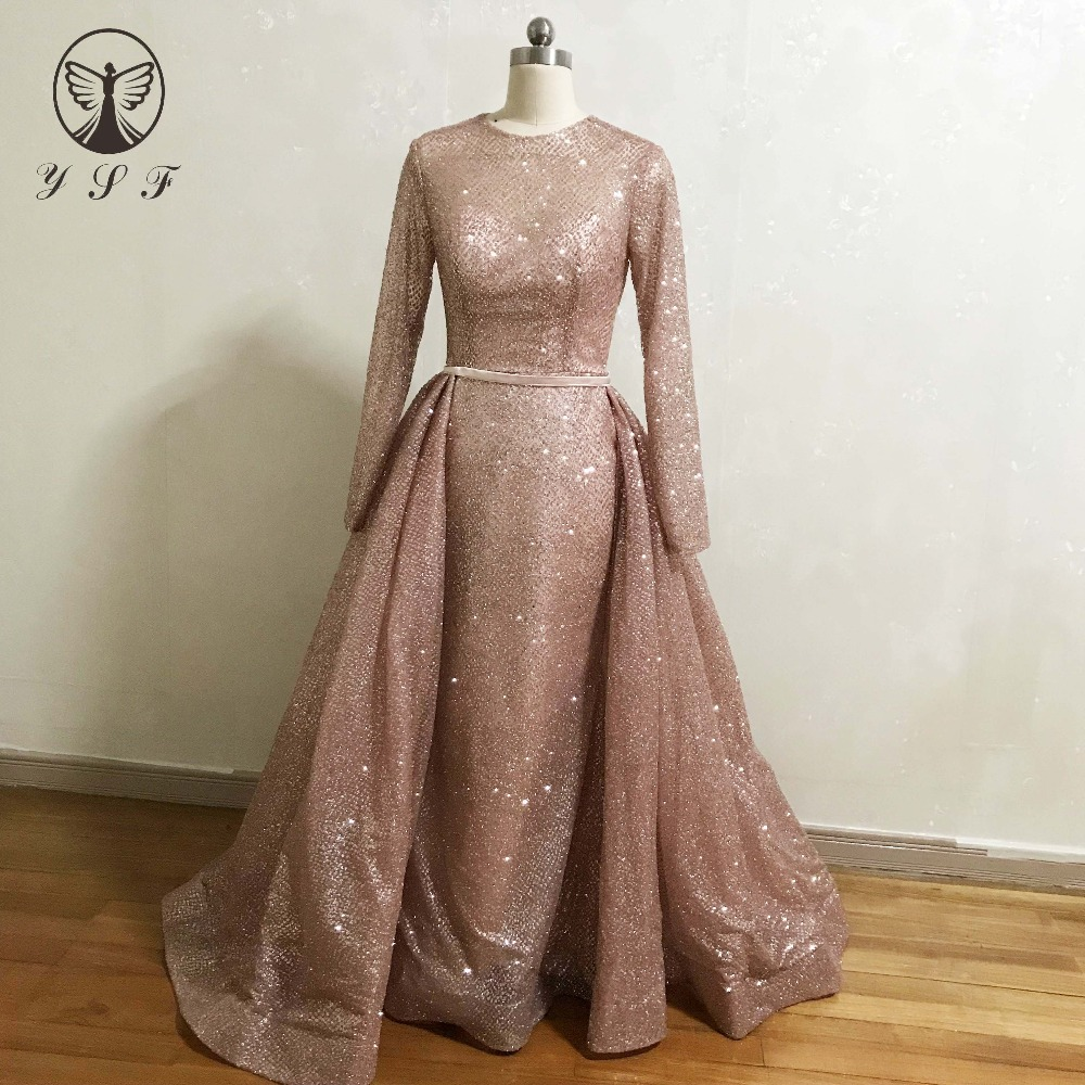 Us 1759 Designer Vestidos De Baile Yousef O Neck Rose Gold Long Sleeve Mermaid Prom Dresses With Overskirt In Evening Dresses From Weddings