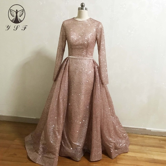 94ae86298def Designer Vestidos De Baile Yousef O Neck Rose Gold Long Sleeve Mermaid Prom  Dresses with Overskirt