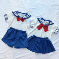 kids clothing set kids clothes toddler girls summer clothing set Brother and sister sets cute Navy style sailor modelling sets