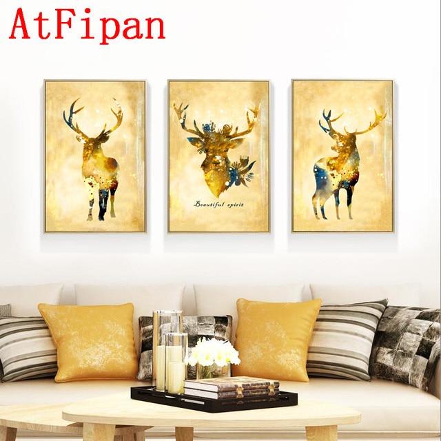 AtFipan No Frame Gold Deer Canvas Painting Noble Art Print Wall ...