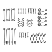 60pcs Piercing Kit for Belly Tongue Ear Eyebrow Nipple Lip Nose and Body 18G Disposable Body Piercing Jewelry Tool Sets with fashion jewelry piercing supplies body tattoo pierce kit