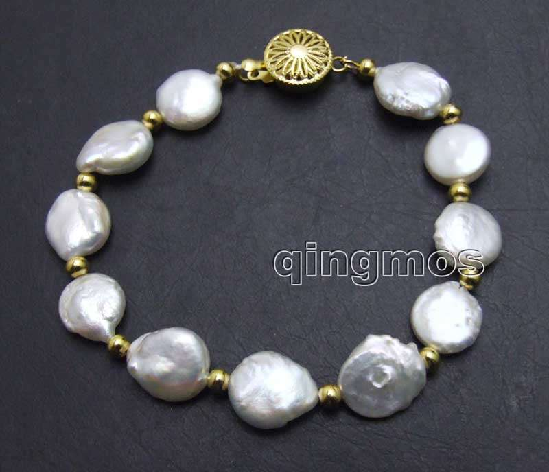 Big 13-14mm White Coin Round natural Freshwater Pearl 7.5 Bracelet -bra137 Wholesale/retail