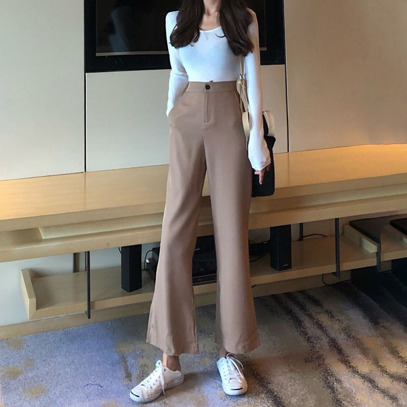 Mazefeng Autumn Winter Women Fashion Loose Style Ankle-Length   Pants   Ladies Solid Straight Flare   Pants   Famle Casual   Wide     Leg     Pant
