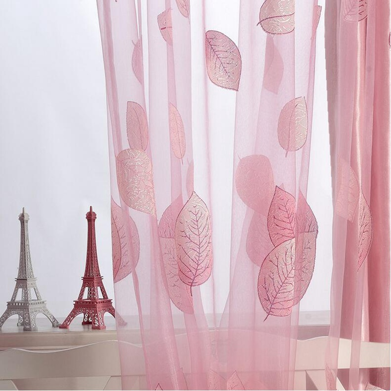 Modern fancy purple pink printed leaves curtain cloth drapes and ...