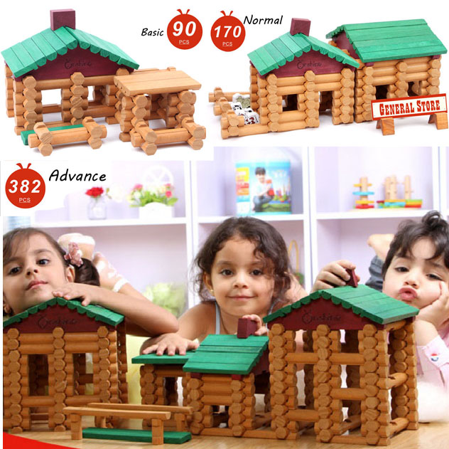 2017 Top Brand New House Children Wooden DIY Wooden Assemblage Building Block Educational Baby Toy Forest Log Set High Quality цена