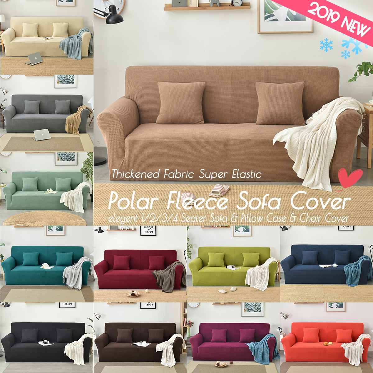 Polar Fleece Slipcover Sofa Solid Color Couch Cover Elastic Full Sofa Cover 1 2 3 4 Seater Stretch Pillow Case Chair Covers Dining Chair Covers For