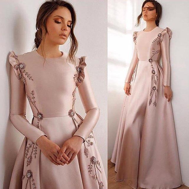 Nude Pink Evening Dresses abendkleider Arabian Evening Gown Long Sleeves Fold Bead Formal Dress Pleats Appliques robe de soiree