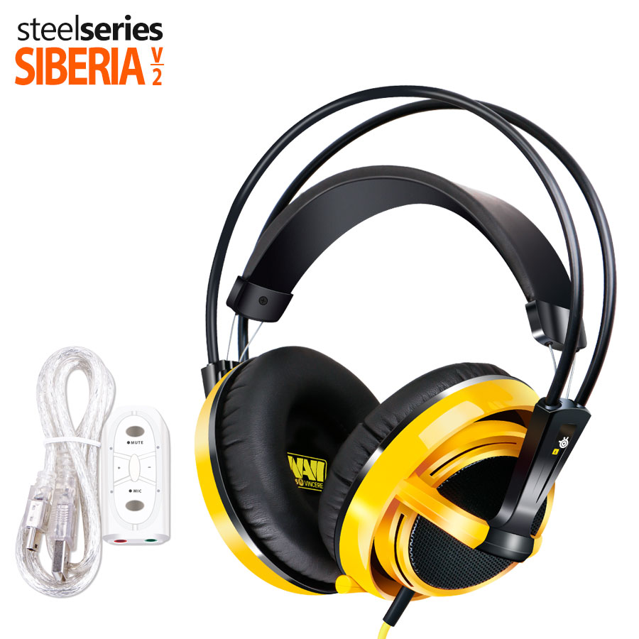 ФОТО Steelseries Siberia V2 Natus Vincere Edition Gaming Headphone Noise Isolating Game Headphones Headset for Gamer + sound card