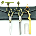 "6 ""estilo rey kit clipper pelo corte de pelo tijeras de peluquería tijeras de corte de pelo profesional peluquería tijera japón cortes de pelo"