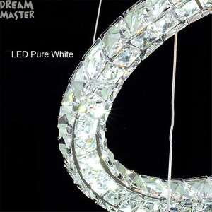 Image 4 - מודרני LED תליון נברשת אורות K9 קריסטל מעגל טבעת תליית מנורת דקו Luminaire בית ברק מנורת candelabro דה cristal