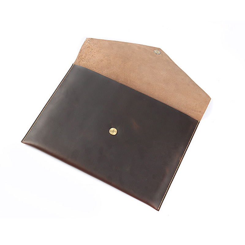 Cow Leather A4 Paper Folder Document File Bag Business Briefcase Filing Products Office Stationary