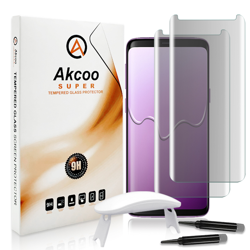 Akcoo 2 Pieces clear liquid adhesive screen protector for Samsung S8 note8 S9 plus S7 edge full glue case friendly glass film