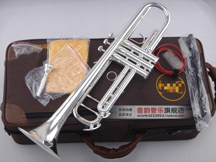 Un bon cadeau Instruments de musique LT180S-90 Bb trompette en laiton argent plaqué exquis sculpté à la main B trompette plate avec embout