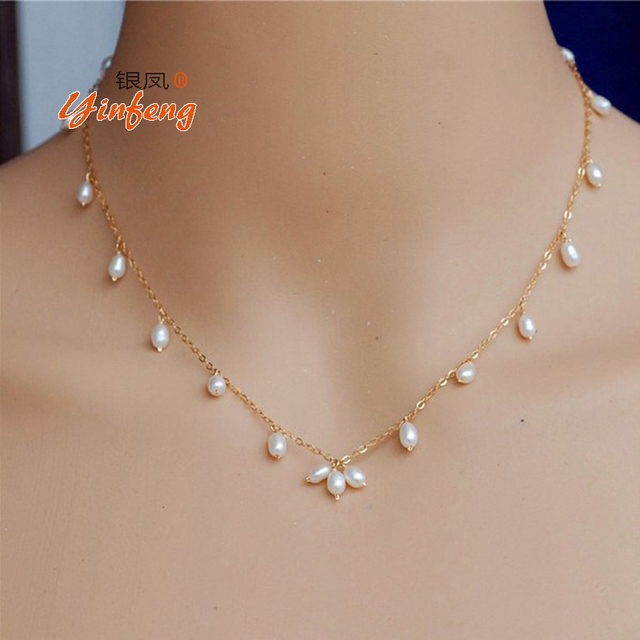 Simple fashion and natural pearl necklace with gold chain and rice