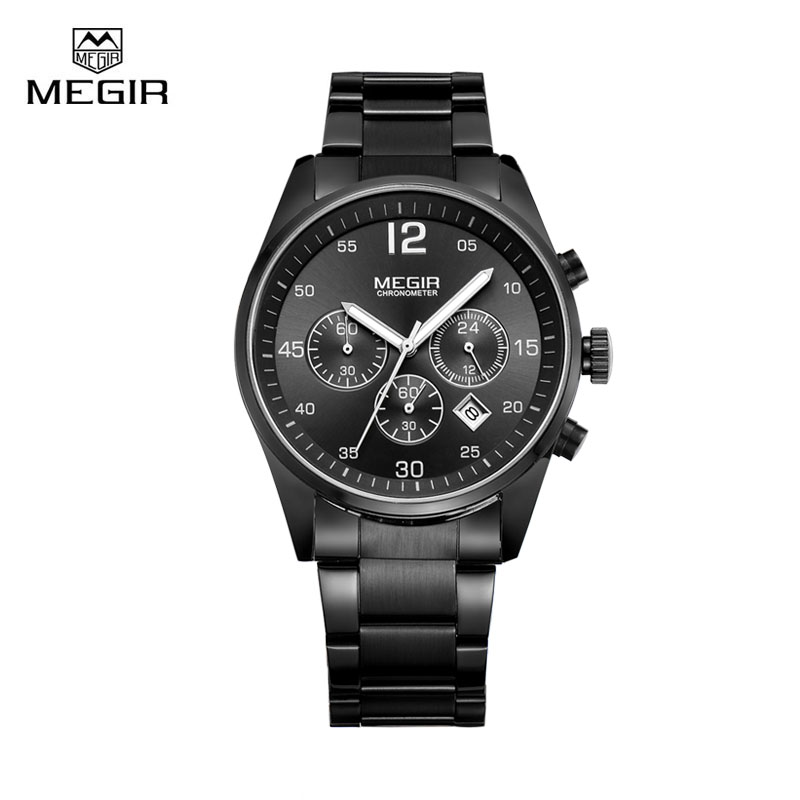 Megir Brand Men Watch Clock Montre Male Luminous Waterproof Sport Quartz Wristwatch for Boy relogio masculino megir 2017 fashion creative sport waterproof quartz watch men casual leather brand wristwatch luminous stop wristwatch for male