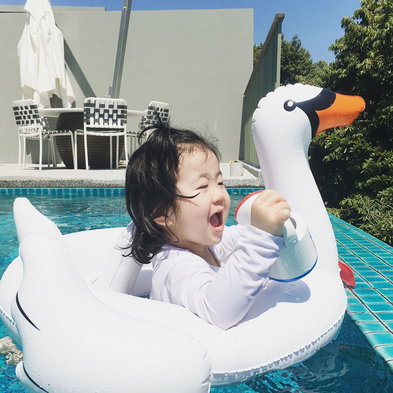 New Kids Inflatable Baby Toys Swimming Pool White Swan Float Water Pool Summer Baby Fun Toys Seat Boat Kids