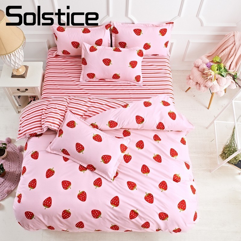 Solstice Home Textile Pink Bedding Set Girl Teen Kid Linen Strawberry Duvet Cover Pillowcase Flat Bed Sheet King Queen Full Twin