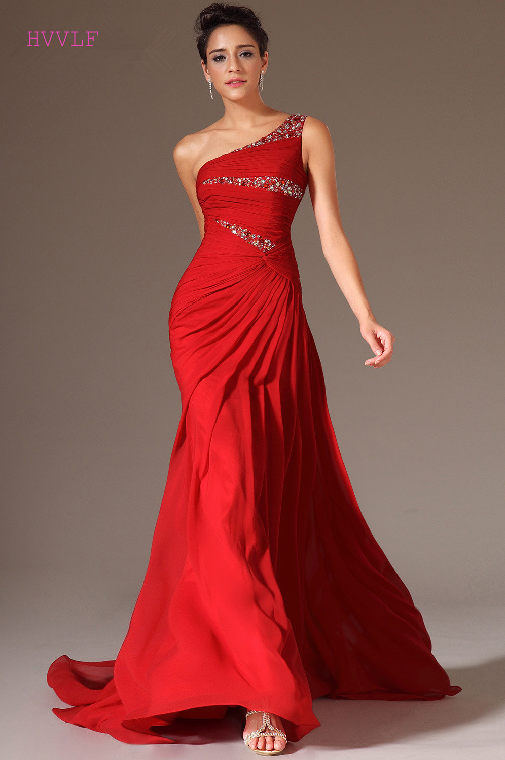 Red Evening Dresses 2019 Mermaid One shoulder Chiffon Beaded Lace Plus Size Long Evening Gown Prom