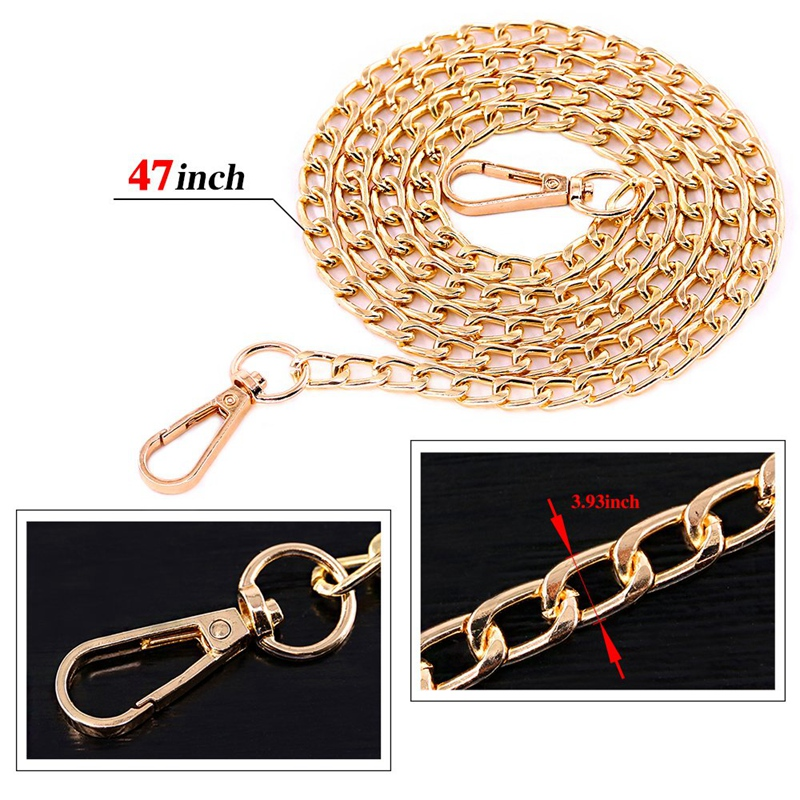 BEAU-3Pcs Luxury Fashion 47 Inche Replacement Flat Chain Strap With Buckles Set Perfect For Diy Metal Shoulder Cross Body Bag