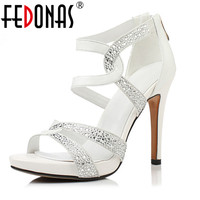 FEDONAS Women Genuine Leather Shoes Thin High Heels Rhinestone Ankle Buckles Ladies Wedding Party Shoes Woman Summer Sandals