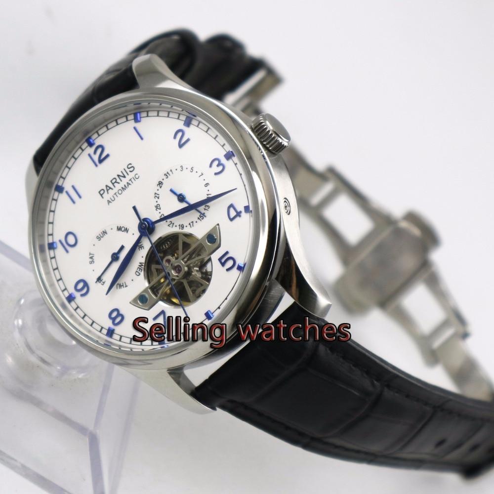 43mm parnis cadran blanc bracelet en cuir marron indicateur de réserve de marche déploiement fermoir ST 2505 montre automatique pour hommes