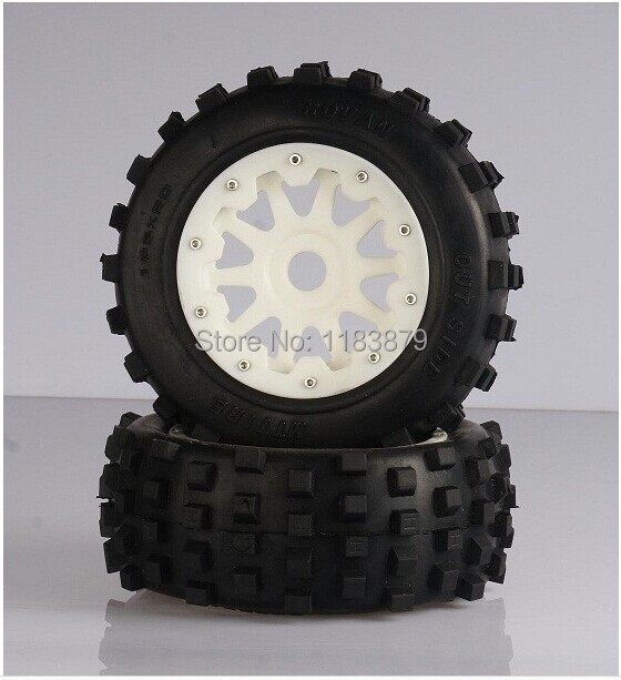 Baja 5T 5SC Front knobby wheel set with nylon super star wheel 95160 baja front new  knobby tire set 85078