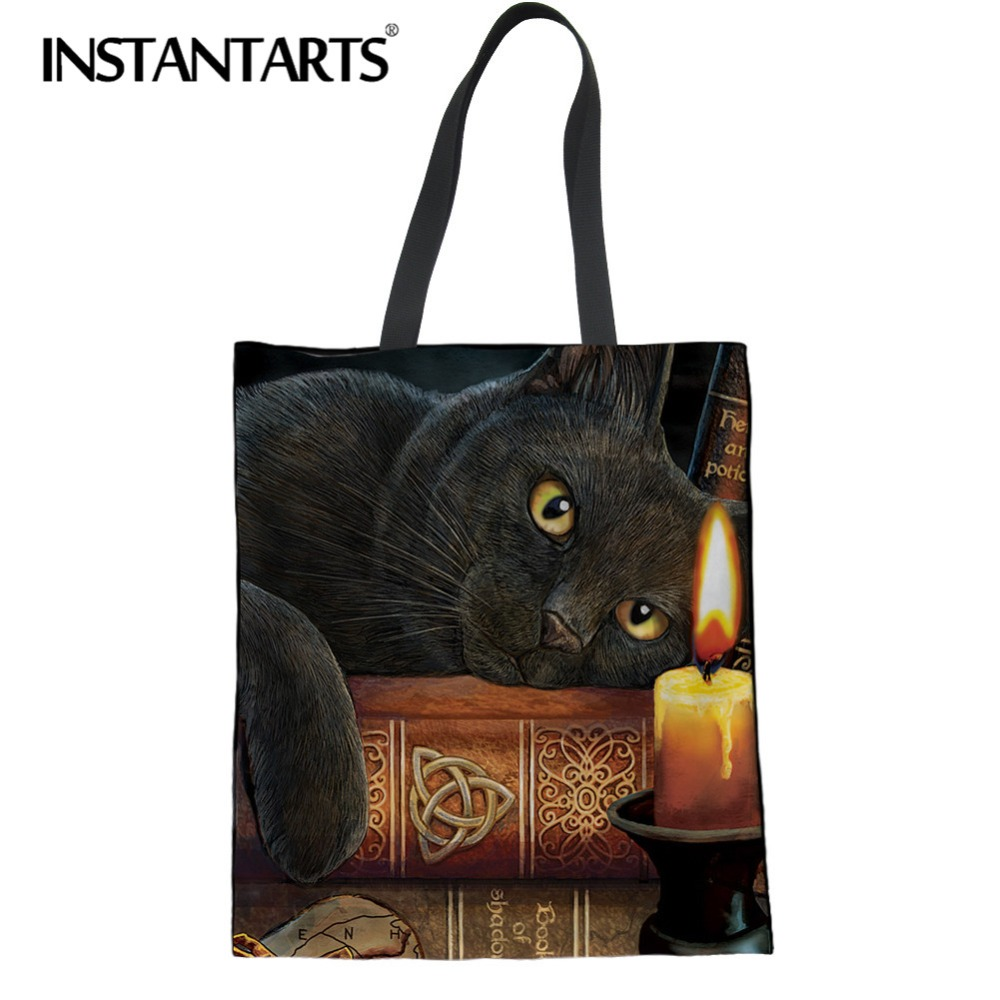 INSTANTARTS Witching Hour Cat Print Cotton Tote Bag Women Casual Large High Quality Shopping Bag Reusable Folding Shoulder Bag