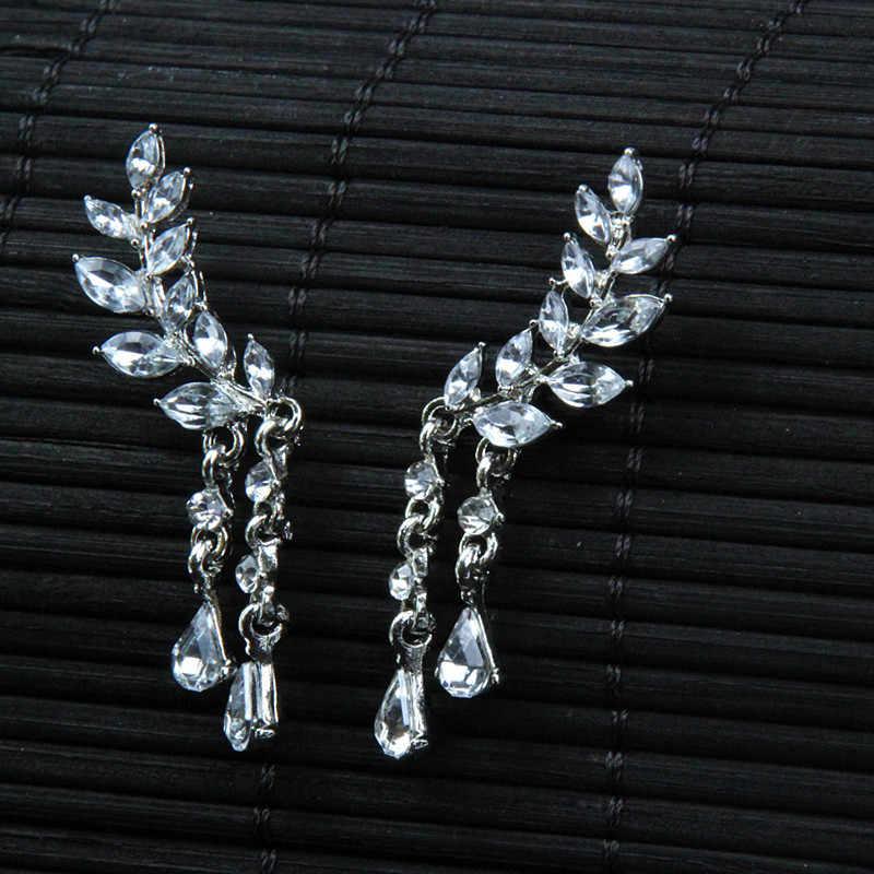 Rumbai Wing Style Drop Anting-Anting Mawar Warna Emas/Perak Nada Kubik Perhiasan untuk Wanita Laporan Perhiasan untuk Hadiah e0106