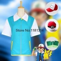 High Quality Pokemon Ash Ketchum Cosplay Costume Jacket + Gloves + Hat+ball Ash Ketchum Costumes XS-3XL