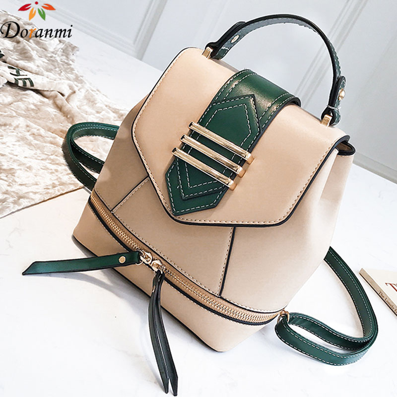 DORANMI Buckle Small Backpack Women Schoolbags 2019 Luxury Brand Designed Casual Leather Rucksack Zipper Mochila Sac SJB301