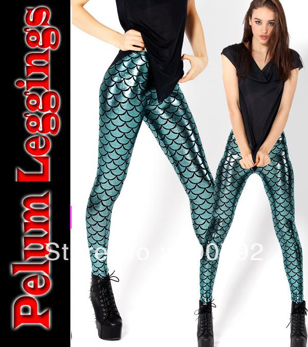 a3a867f8529 2013 New Hot Sale sexy BlackMilk shiny metal blue Mermaid Leggings free  shipping