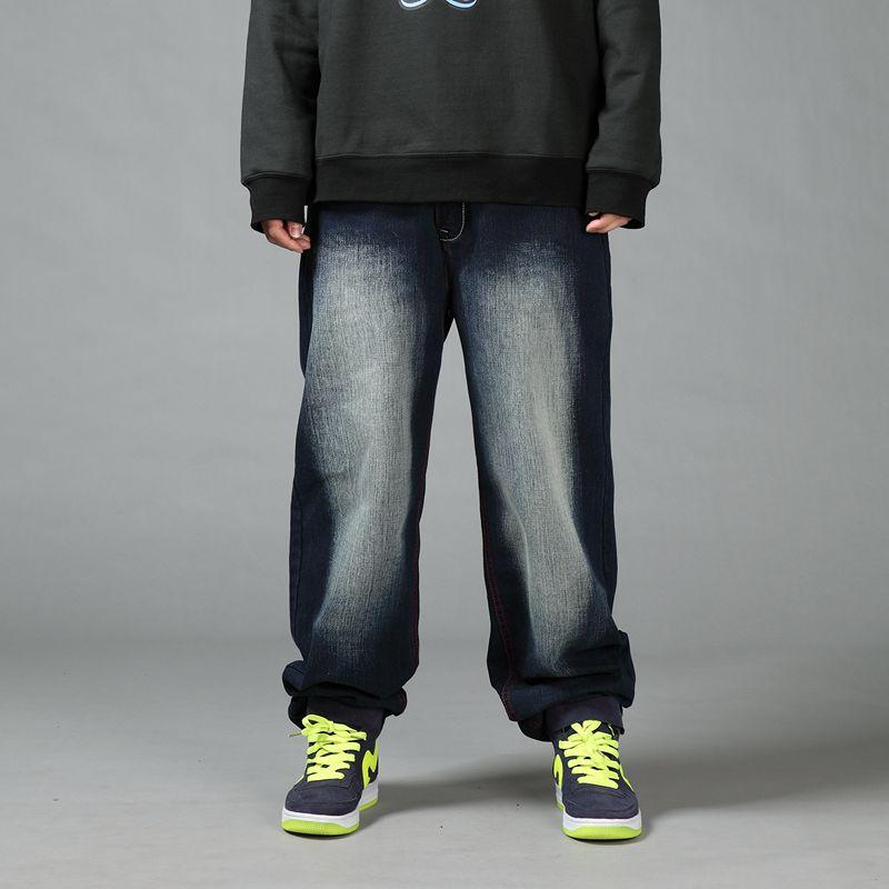Men Bleach Baggy   Jeans   2018 Loose Fit Hiphop Skateboarder Wide Leg Denim Pants Free Shipping