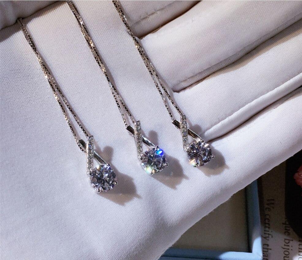 Top qualité nouvelle mode CZ Zircon pierres X forme 925 en argent Sterling collier conception femmes bijoux de mariage en gros
