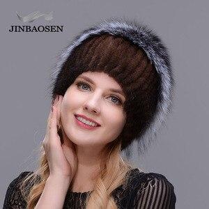Image 3 - รัสเซียแฟชั่นMink Furหมวกผู้หญิงฤดูหนาวWarm Foxหมวกถักผู้หญิงใหม่ขนสัตว์ธรรมชาติและเจาะน้ำสกีหมวก
