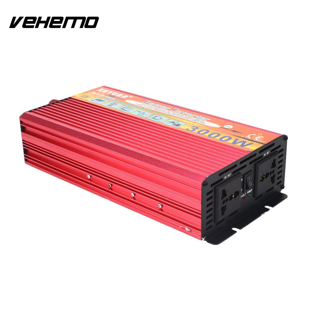 Vehemo Adapter Aluminium Alloy Power Inverter Output Car Inteverter High Performance DC 12V To AC 110V Universal For all cars