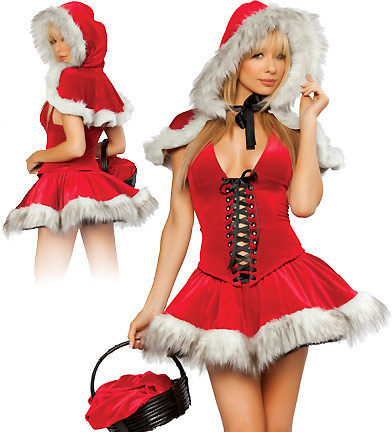 Best Quality Miss Mickey Santa Claus Little Red Riding Hood Sexy Christmas Costume Party Dress Set Adults Women Outfit Lingerie