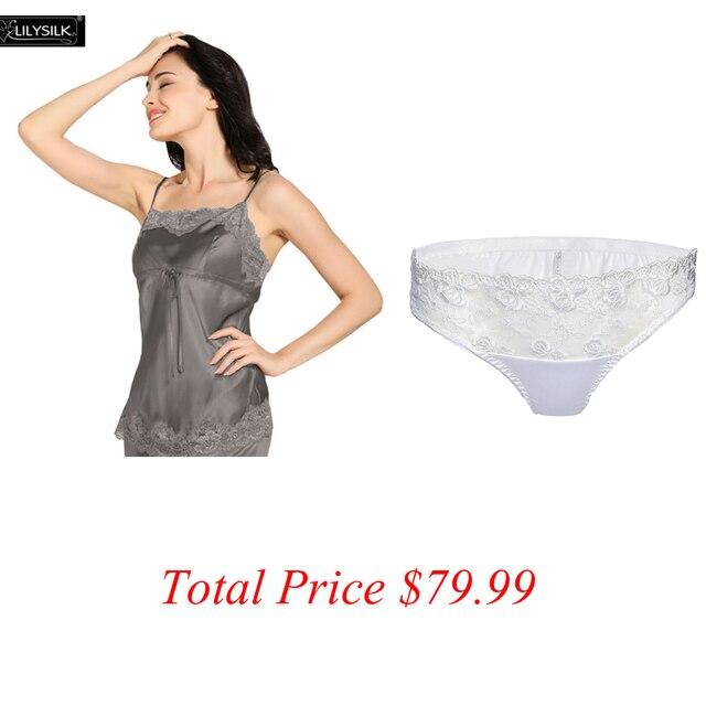 Lilysilk Tops Camisole Sexy Com Calcinha Branca Dois PCS Togather Elegante 100% Roupas de Luxo de Presente de Casamento de Seda 22 Momme