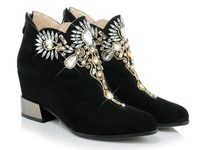 Fashion Elegant Crystal Zipper Solid Black Partyy Spring Autumn Platform Shoes Wedge Heels Women Ankle Boots