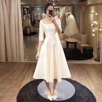 シンプルな茶長さのウェディングドレスハーフスリーブホワイトアイボリー韓国ブライダルドレス Vestido デ · ノビア格安 A ラインのウェディングドレス