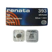 RENATA 5pcs Silver Oxide Watch 393 SR754W 754 1 55V 100% 393