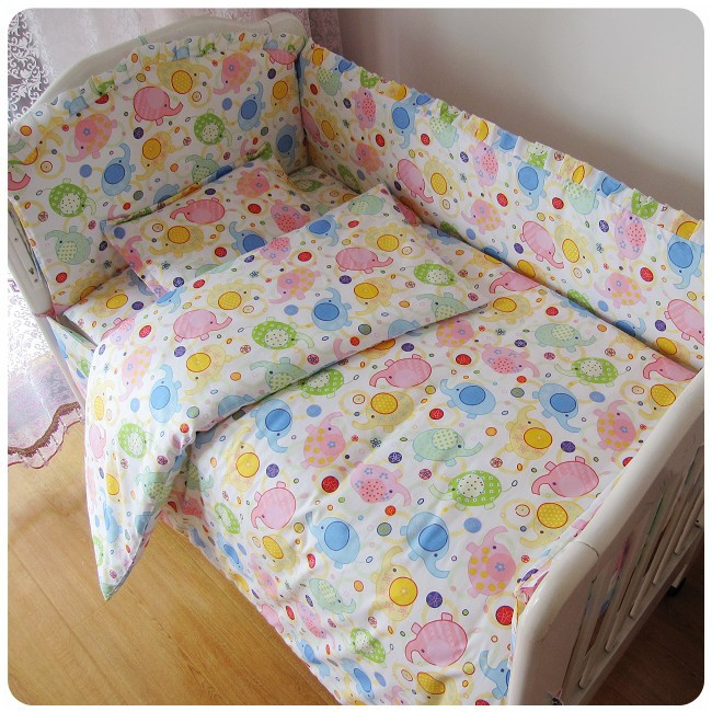 ФОТО Promotion! 6PCS Baby Crib Bedding Sets Baby Cot Bedclothes Bumper Bedding (bumper+sheet+pillow cover)